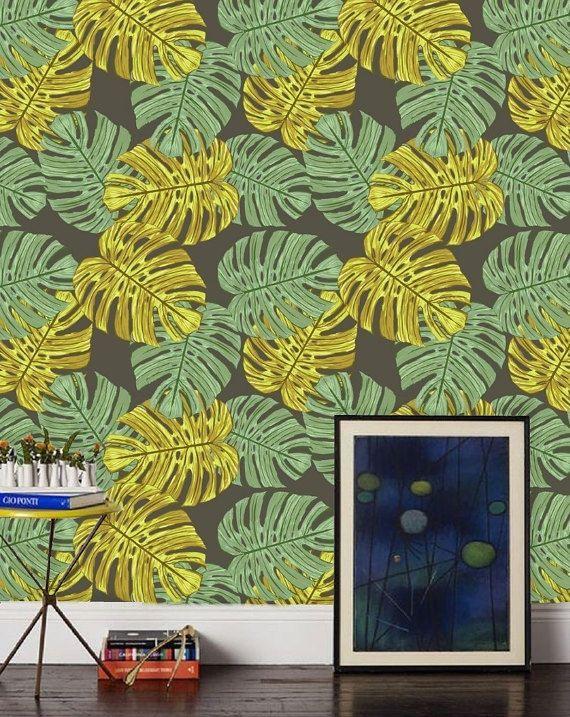 Monstera Leaf Wallpaper Mural Removable Peel Stick Green Etsy Leaf Wallpaper Self Adhesive Wallpaper Tropical Wallpaper