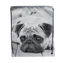 4 unids triste de impresión perro Pug encargo Softback mujeres cordón mochila mochila para libro ropa viajes exterior bolso de lazo bolsas…