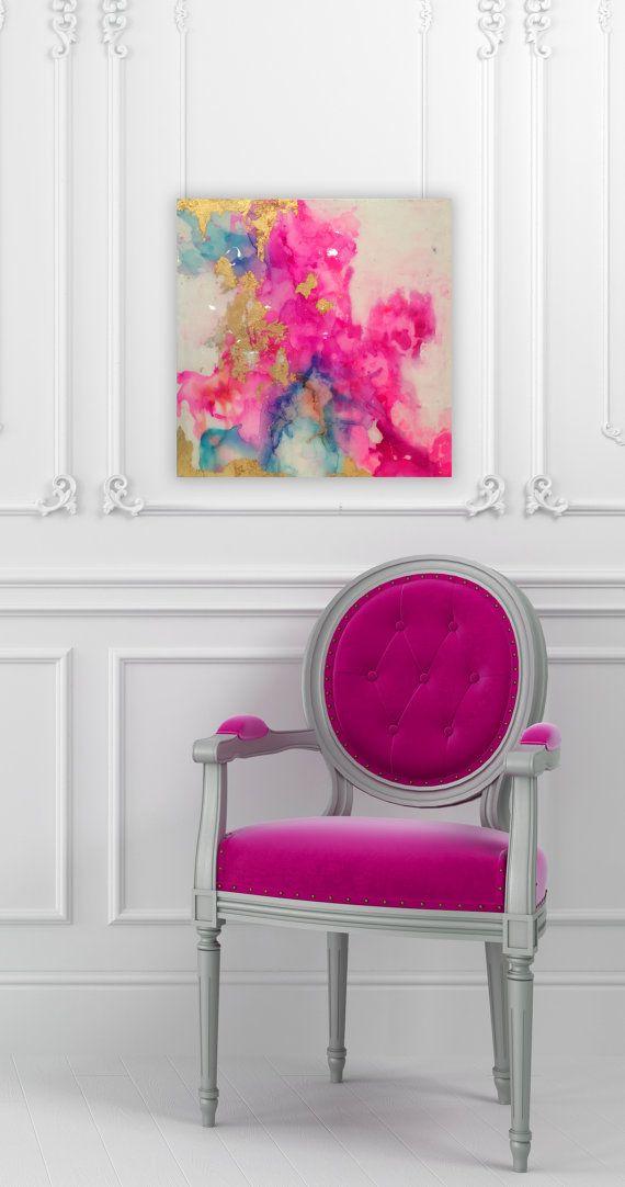 """Sólo disponible hasta el 10 de agosto! Resumen lienzo pintura azul, rosa, Pastel, Ombre brillo con cristal y resina capa de pan de oro verdadero 20 """"x 20"""" Más"""