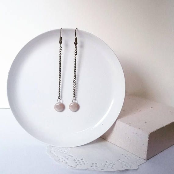Long minimalist earrings with bronze chain ear wire hanging