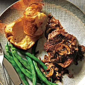 Beef Filets with Mushroom Sauce and Parmesan Popovers   MyRecipes.com