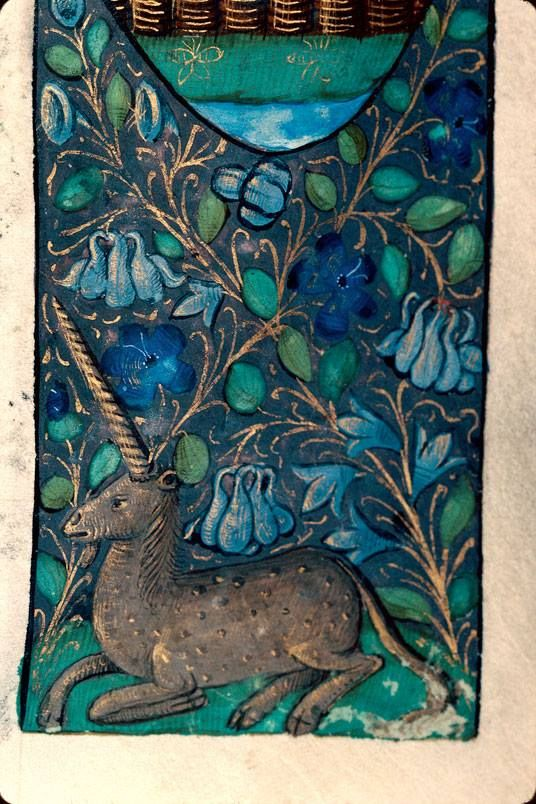 Another unicorn decorates the lower margin of this Breviary created in Rouen, France, before 1498. Besançon, Bibliothéque Municipale, Ms. 69, fol. 5r.