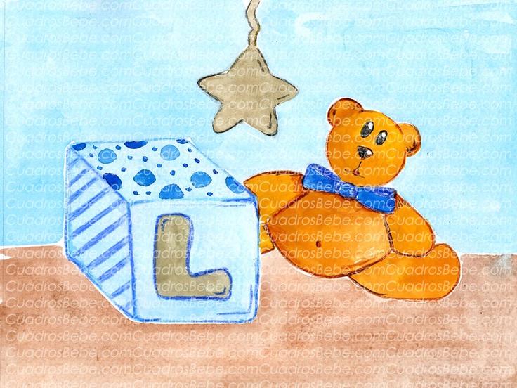 Cuadro bebe iniciales, con un osito y la inicial del niño dibujada en un cubo de juguete junto con una estrella colgada del techo, pintado a mano con pintura y acuarela, para la habitación o cuarto de los más pequeños de la casa. En este caso la inicial es la letra L y podría decorar de forma infantil la habitación de cualquier niño o bebé.