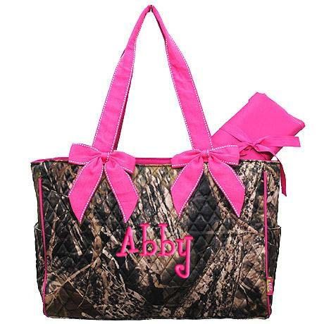Personalized Diaper Bag Camouflage Mossy Oak Pink Quilted 2 pc Monogrammed. $36.99, via Etsy.  (They have it with orange and brown if it's a boy)