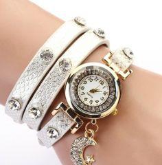 Ay Yıldızlı Suni Parlak Deri Ayarlanabilir Beyaz Bayan Saat