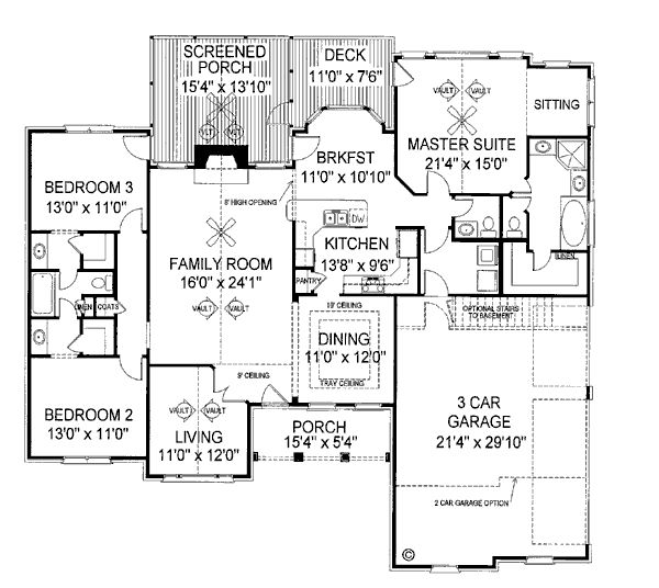 First Floor Plan of European   Ranch   Traditional   House Plan 92421