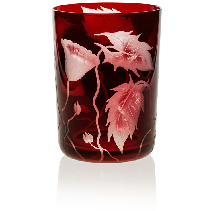 RUBY | Handmade Glass Blown Large Tumbler, Deco Prairie-Ruby 1924, height: 110 mm | top diameter: 83 mm | volume: 380 ml | Bohemian Crystal | Crystal Glass | Luxurious Glass | Hand Engraved | Original Gift for Everyone | clarescoglass.com