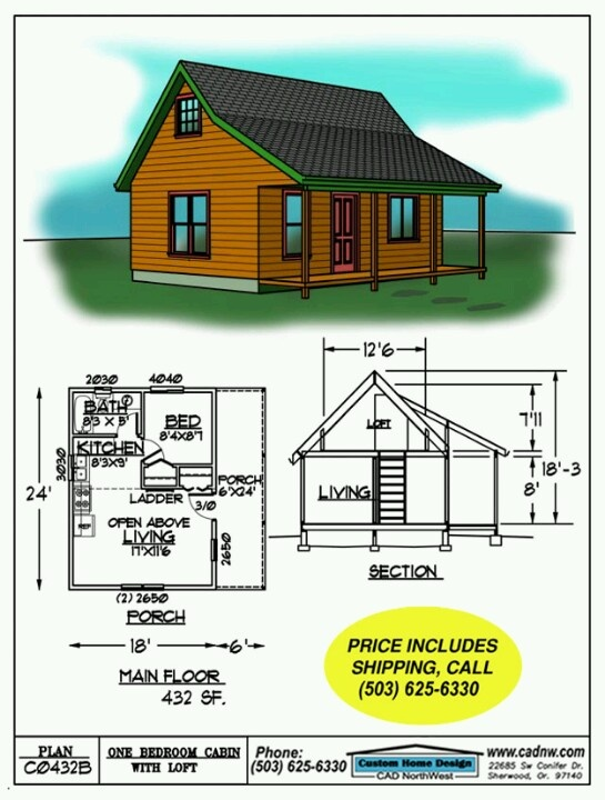 432 sq ft homestead pinterest tiny houses cabin and for Tiny cabin plans with loft