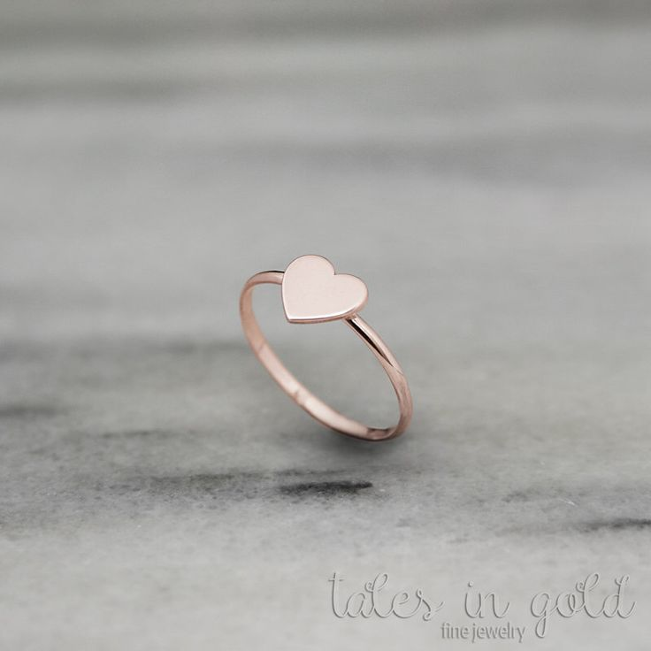 Heart Ring, Rose Gold, Valentine's Day, 14 Karat Gold, Love Ring, Valentine's Gift, Gold Ring, Dainty Ring, Gift For Her, Gold Heart by TalesInGold on Etsy https://www.etsy.com/listing/497167470/heart-ring-rose-gold-valentines-day-14