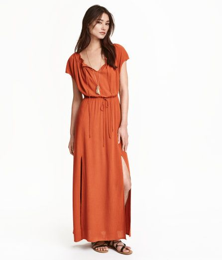 Check this out! Off-the-shoulder maxi dress in woven, crinkled fabric made from viscose. Cap sleeves, elastication and ties at upper edge, elasticized seam and decorative ties at waist, and high slits at front. Unlined. - Visit hm.com to see more.
