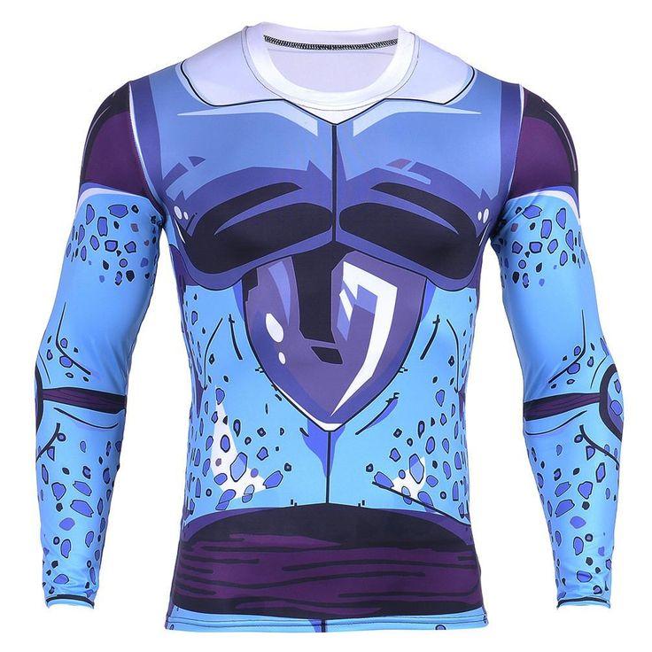 Cell Jr. Blue Skin DBZ Monster 3D Long Sleeves Compression T-Shirt  #CellJr. #Blue #Skin #DBZ #Monster #3D #LongSleeves #Compression #TShirt