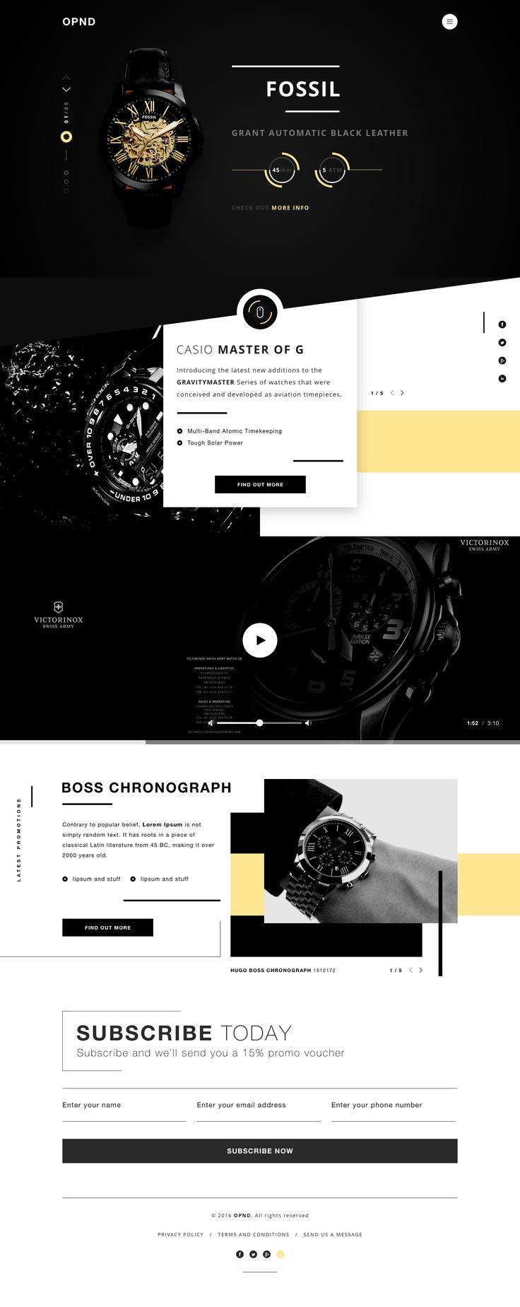 Watch shop design landing page homepage dribbble full