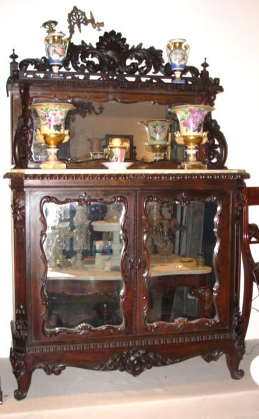 Victorian Rosewood Marble Top Cabinet