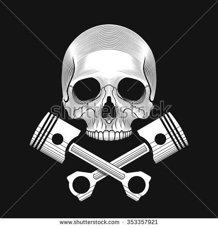 Skull and crossed engine pistons on the black background. Car or bike repair shop logo template (concept). Vector illustration.