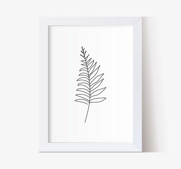 Fern leaf wall art decor. Line art print, Abstract Botanic art, Single line drawing, Minimalistic ar – Gil Sales