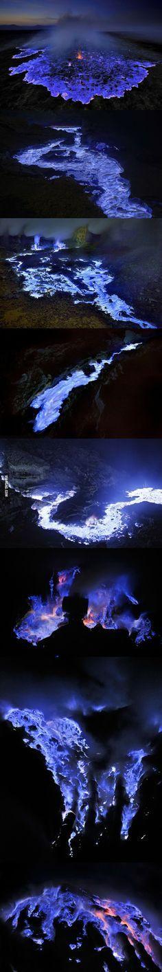 Azul de la lava, cráter de Ijen - Indonesia