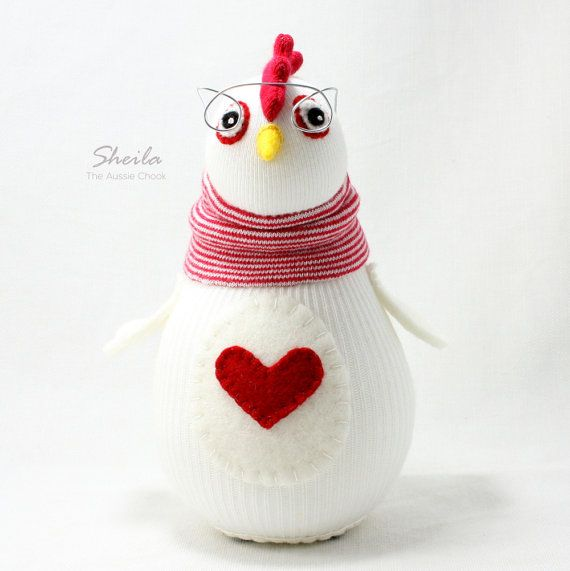 Sheila the Aussie Chicken Sock Doll by Sewinthemoment has removable glasses. Red and White. One of a kind Gift or Desk Buddy or Home Decor