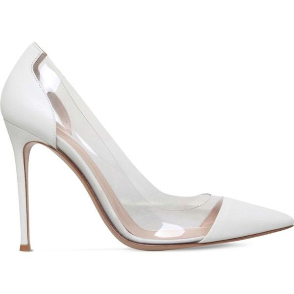 GIANVITO ROSSI Calabria leather court shoes ($720) ❤ liked on Polyvore featuring shoes, pumps, white, white leather pumps, white pointed-toe pumps, high heels stilettos, leather pumps and white high heel shoes