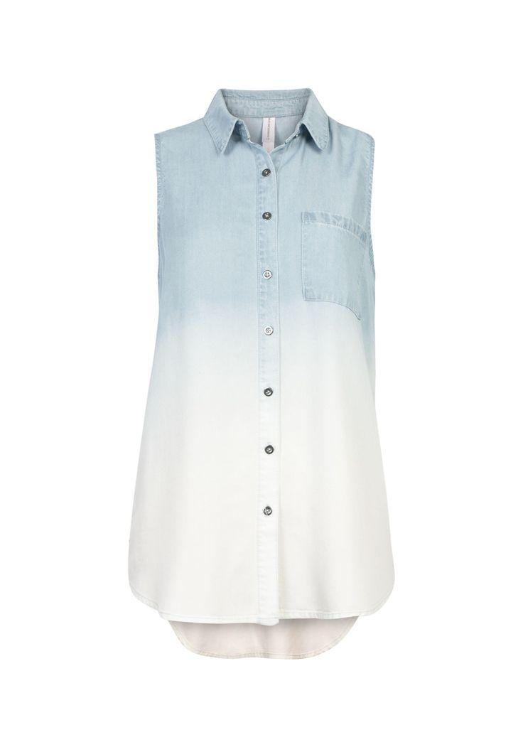 Dip Dye Sleeveless Denim Shirt