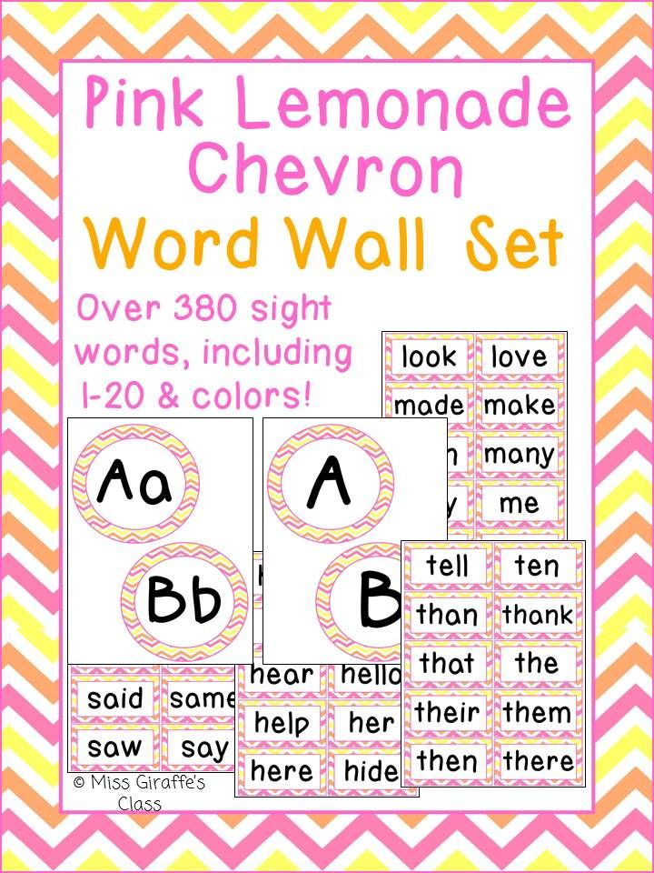 Pink Lemonade Chevron complete Word Wall set! Includes all the letters and over 380 sight words and a blank page too! Comes in other styles too