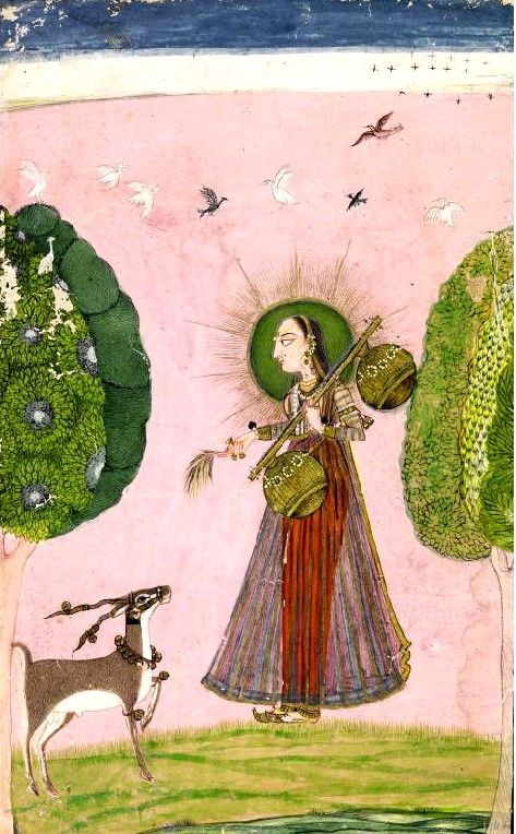 "lllustration from a Ragamala Series: ""Gujari Ragini"" says label, but resembles Todi.. A maiden playing a vina with a gazelle before her, trees on either side and birds in flight above. An inscription in Takri on the reverse.. circa 1720. India, Kulu Bahu"