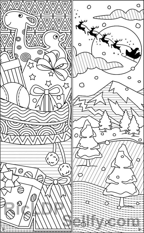 8 Christmas Coloring Bookmarks Gifts Reindeer Toys Bookmarks