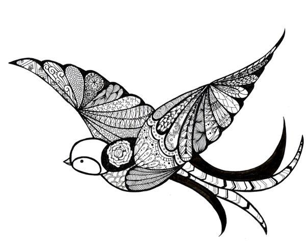 Flying bird illustration vintage - photo#8