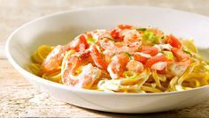 Slanke Spaghetti met garnalen en boursin cuisine light. Propoints Weight Watchers: 13 punten.