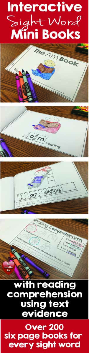 $Interactive Sight Word Mini Books with Reading Comprehension using text evidence.