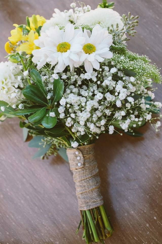 Rustic Burlap White and Yellow Wedding Bouquet