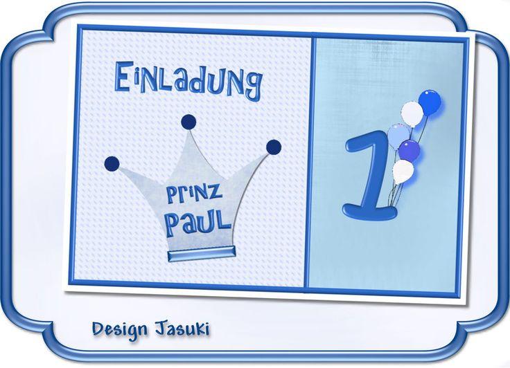 Einladungskarte+Kindergeburtstag+Prinz+blaue+Krone+von+♪+♫+♪+++Kindergeburtstag+Store++♪+♫+♪+auf+DaWanda.com