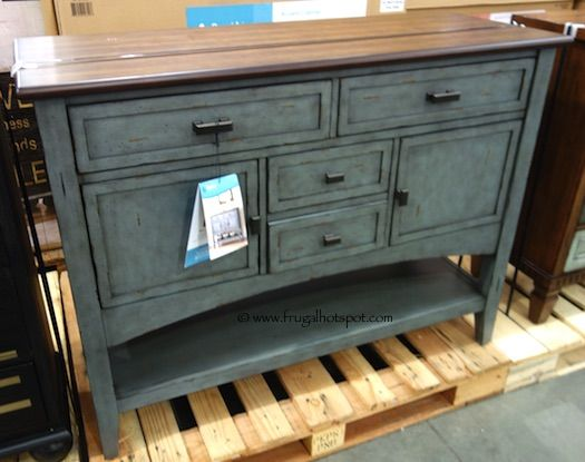 the handpainted multitone blue finish gives this piece a nice rustic feel costco has the bayside furnishings accent cabinet in stock for a limited