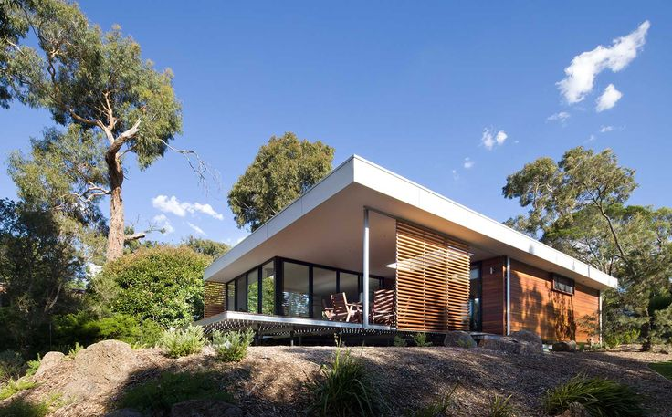 Prebuilt Eve House - Sliding external screens and extended roofline over the deck make it a multi-functional space where solar gain can be controlled