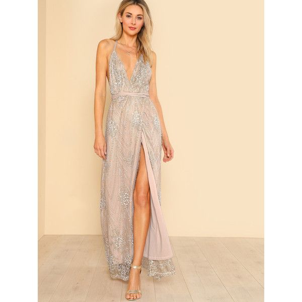 Shimmery Evening Dress with Slit_H-180