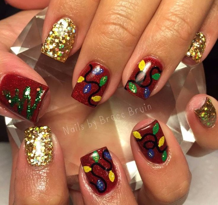 Christmas Lights Nail Art: 43 Best Christmas Lights Nail Art Designs Images On