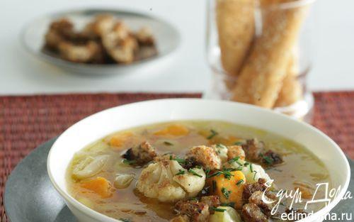 Суп из сладкого картофеля-батата, лука-порея и цветной капусты | Кулинарные рецепты от «Едим дома!»