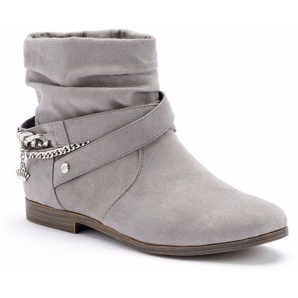 Juicy Couture Women's Slouch Ankle Boots ($90) ❤ liked on Polyvore featuring shoes, boots, ankle booties, botas, sapatos, zapatos, slouch boots, grey booties, strappy booties and slouchy boots