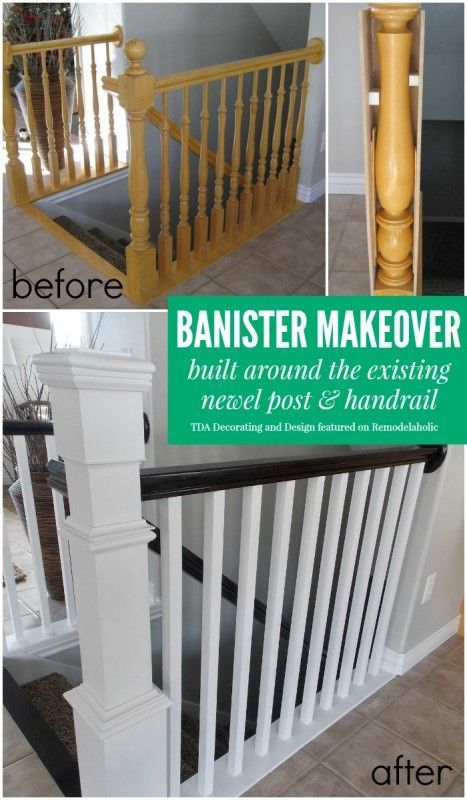 How To Update a Stairway on a Budget - this is an excellent tutorial that shows how dated spindles were removed and replaced and how the dated newel posts were covered with wood and finished. Remodelaholic