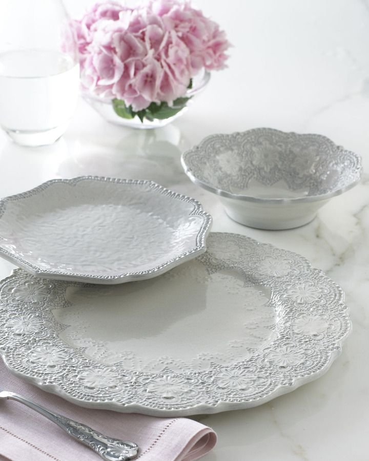 Arte Italica  Merletto  Dinnerware $97.00 - Mimic lace on fine china with neutral colors & 38 best Shabby Chic Dinnerware and Plates images on Pinterest ...