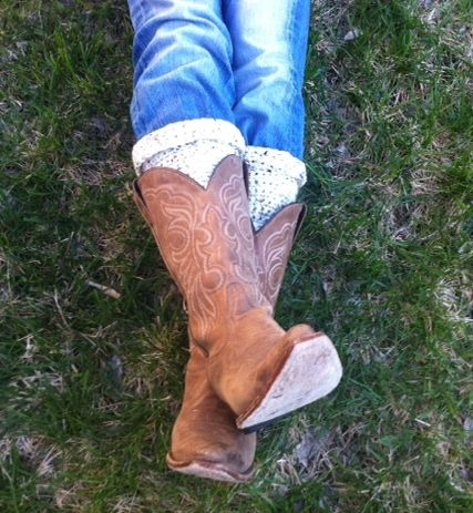 Hand crocheted boot cuffs (at Stewarts Point Store)