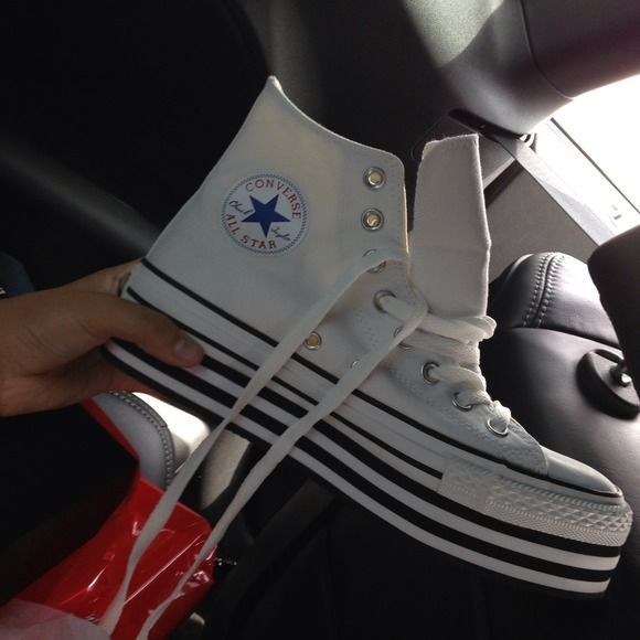 Converse platform high tops  never worn  Super cute and fun converse platform high tops brand new, with box Converse Shoes Platforms