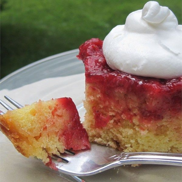 "Fresh Strawberry Upside Down Cake | ""I normally make it for special occasions and I never seem to get any of my creations."""