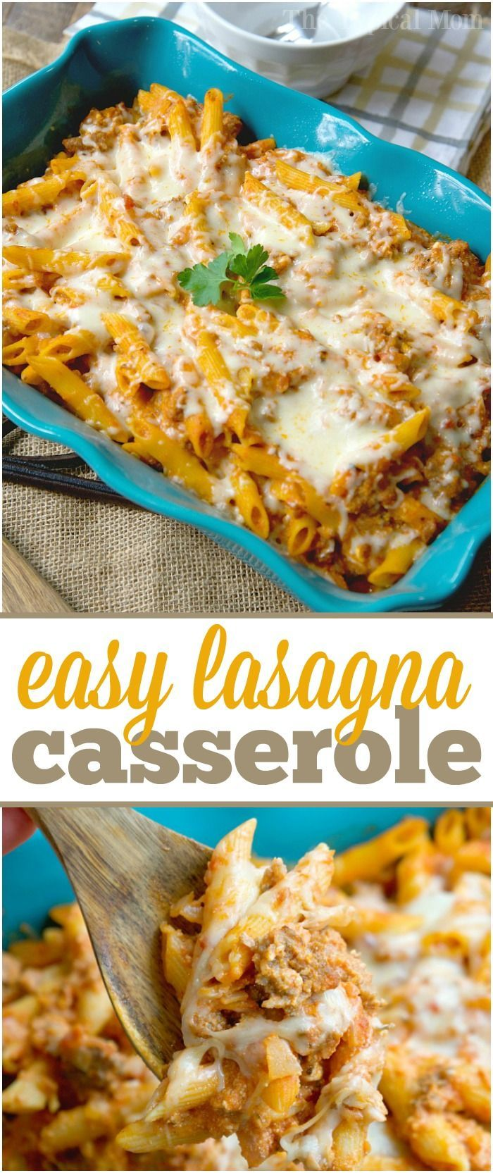 Super easy lasagna casserole recipe that is my kids' favorite meal! No big messy noodles to cut, just throw it all together and enjoy all the same flavors together. via @thetypicalmom