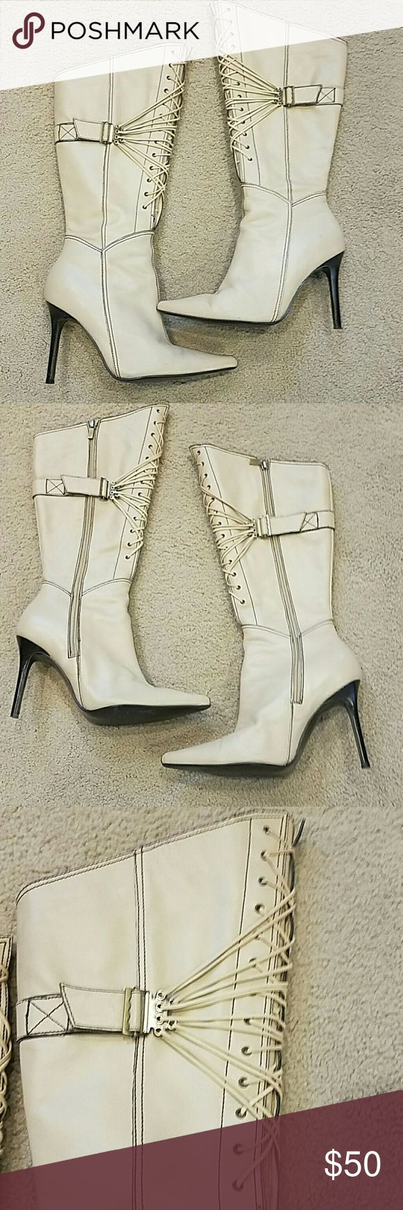 Cream high heeled boots Victoria Secret,leather Pre loved, worn 2x, size 7.5, Victoria Secret Colin Stuart, zip up inside, 4 inches, pointy toe, sexy! Victoria Secret Colin Stuart  Shoes Heeled Boots