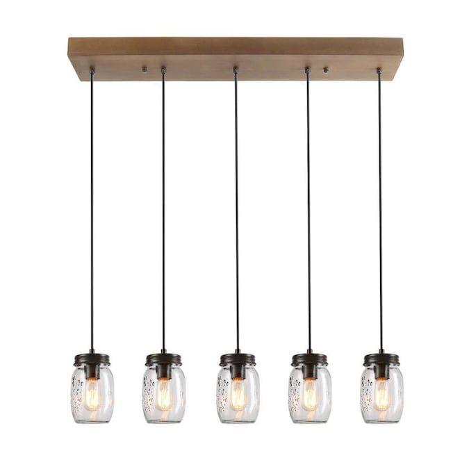 Lnc Aries 5 Light Dark Brown Farmhouse Chandelier Lowes Com In 2020 Mason Jar Pendant Light Wooden Pendant Lighting Jar Pendant Light