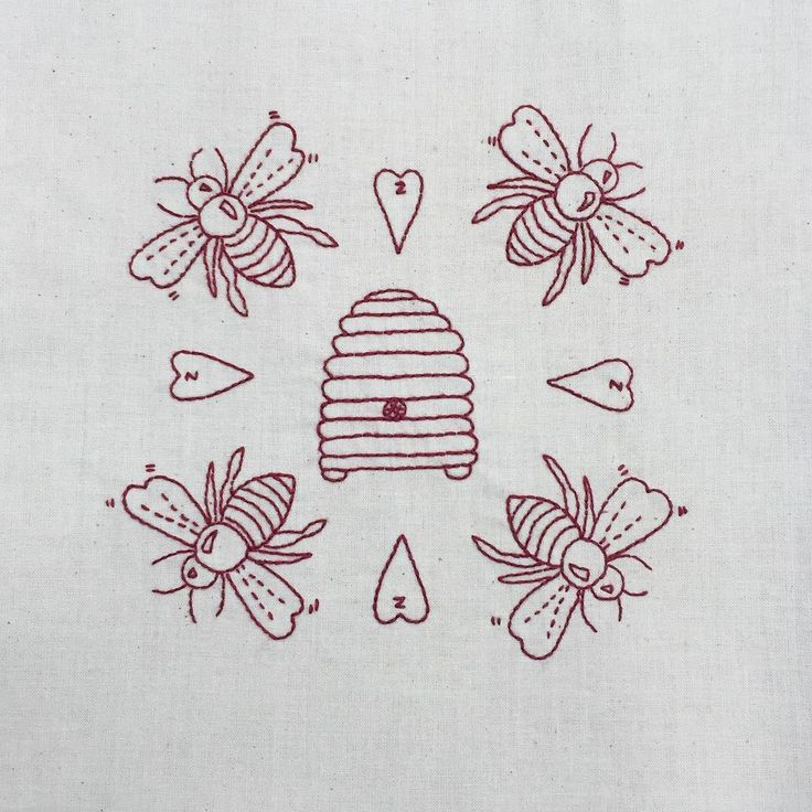 Honey bee and hive embroidery redwork