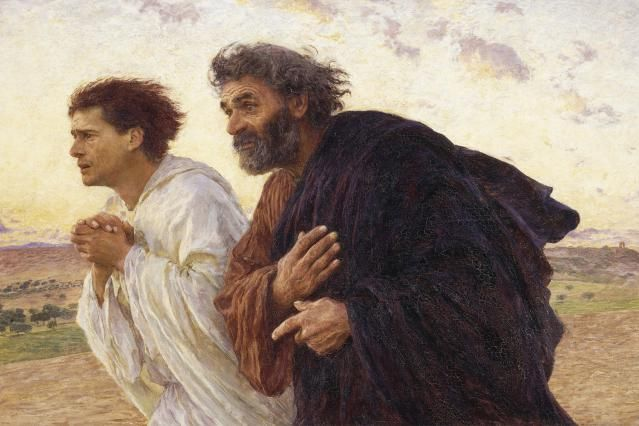 The Book of 1 John: A Love letter to Struggling Christians: The Apostles Peter and John race to the tomb on the morning of the resurrection, by  Eugene Burnand (1926).
