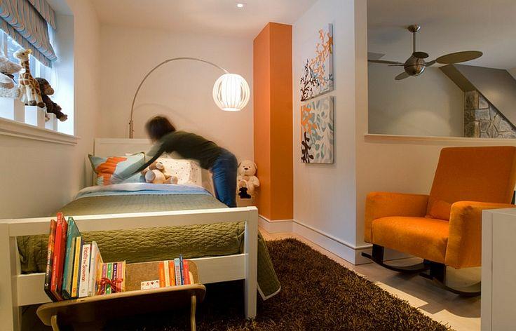 Elegant kids' bedroom in orange and white