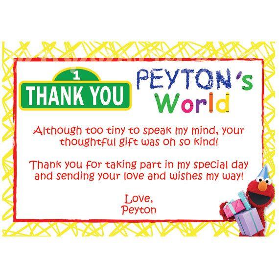 Elmo's World / Sesame Street Thank You Cards- Custom Digital File on Etsy, $9.50