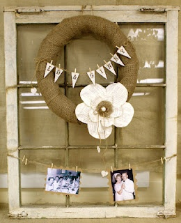 KarenScraps: 50th Anniversary Party Decorations, burlap wreath. Some of the ideas on this blog would work for a wedding reception as well.